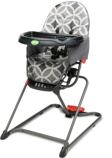 The QuickSmart Easy Fold High Chair has impeccable table manners. The simple fold mechanism lets you hide it away, fully assembled, in just seconds.