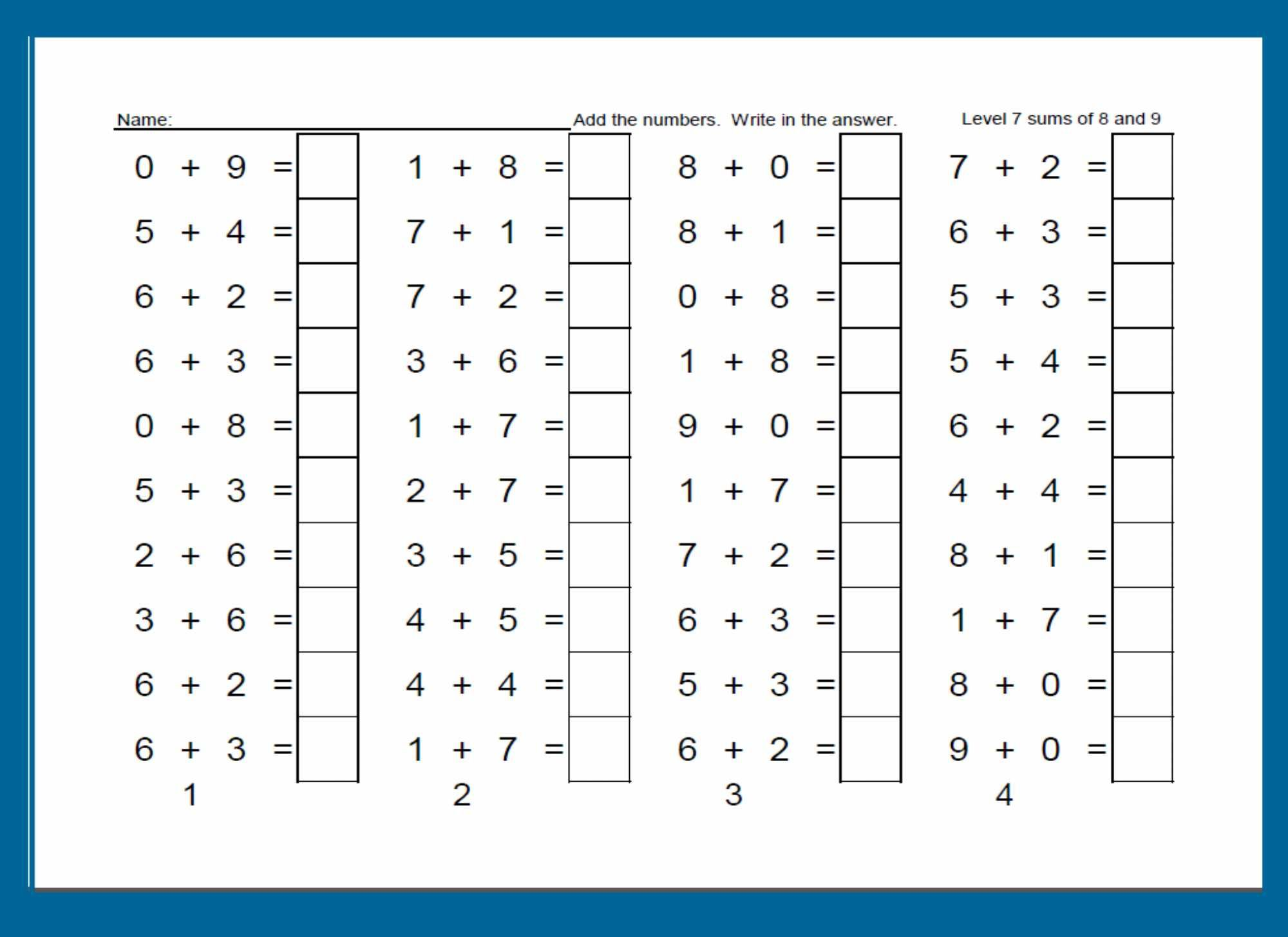 Worksheet For Developing Addition Fluency For Kindergarten