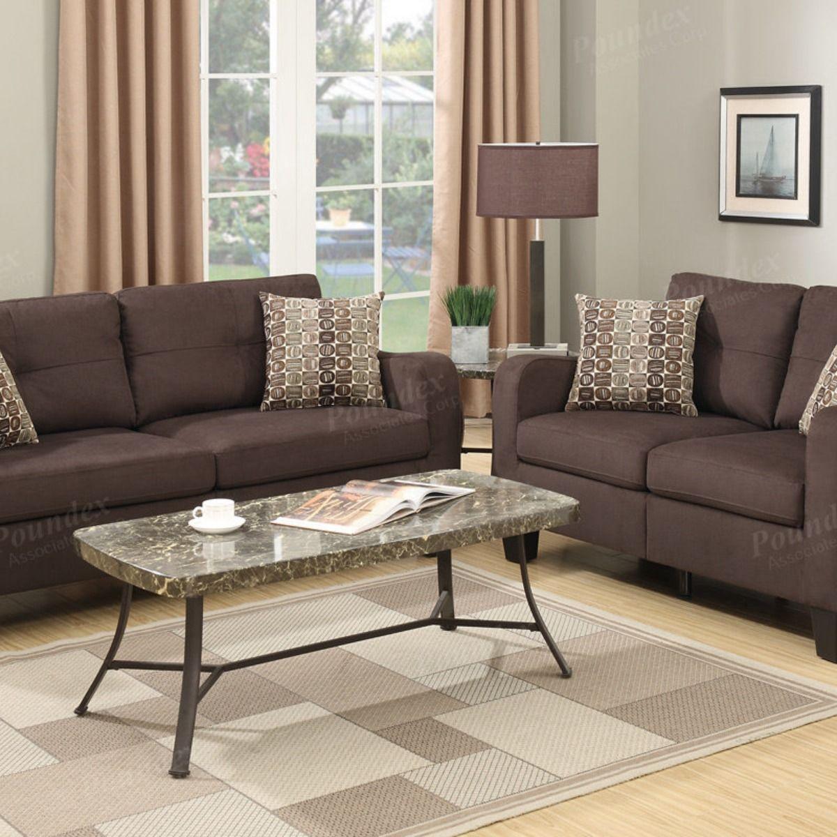 2 Pcs Sofa Set Brown Polyfiber 379 00 Sofa Set Home Decor Love Seat