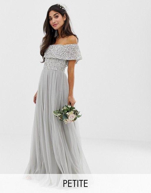 e0e6f256c753 Vestido largo de tul de dama de honor con escote Bardot con ...