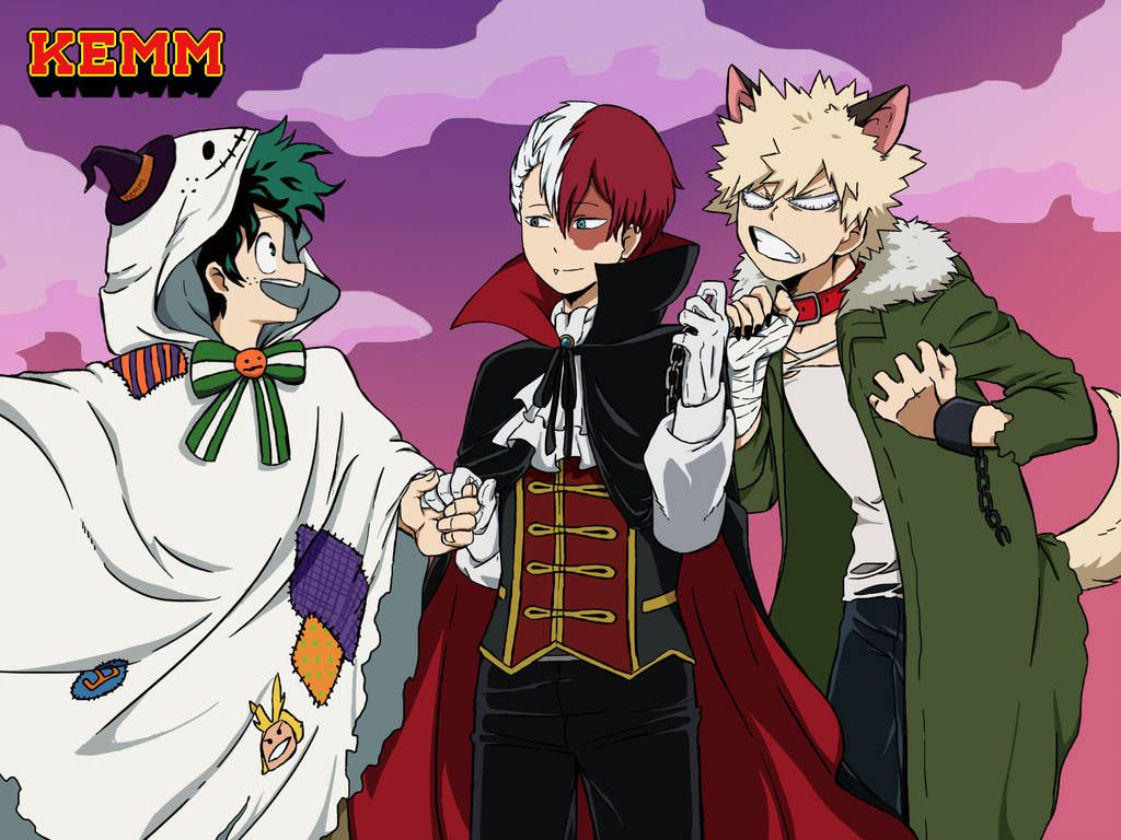 Halloweenbnha By Kemm01 Midoriya Todoroki Y Bakugou En Halloween Yay Un Fanart Mio V Anime Characters My Hero Anime