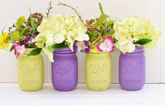 Lime Green And Purple Violet Wedding Decor Mason Jar