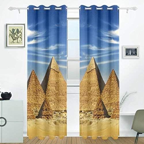 Jstel Khafre pyramides d\u0027Égypte et Chufu Rideaux Drapes Panneaux