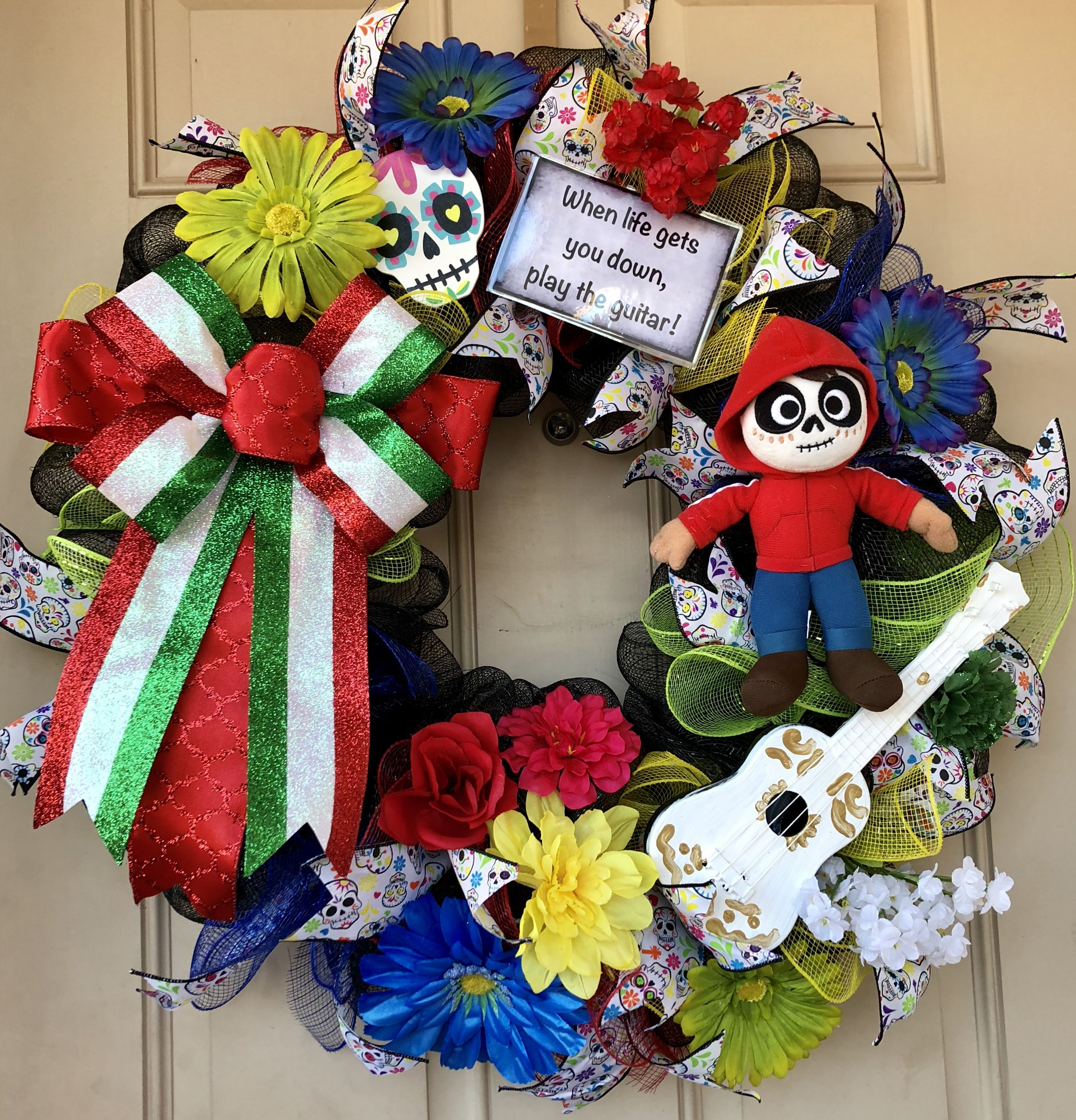Coco Wreath With Adorable Plush Miguel And His Famous White Guitar
