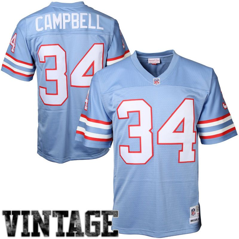 0eaa3dbe6 Earl Campbell Houston Oilers Mitchell   Ness Retired Player Vintage Replica  Jersey – Light Blue