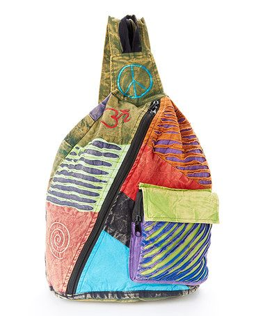 Love this Green & Purple Patchwork Sling Backpack on #zulily! #zulilyfinds