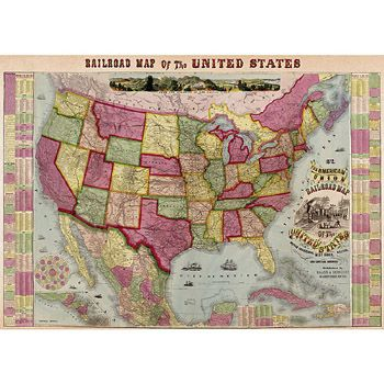 Vintage Railway map of the United States. Ready for framing. $4.99