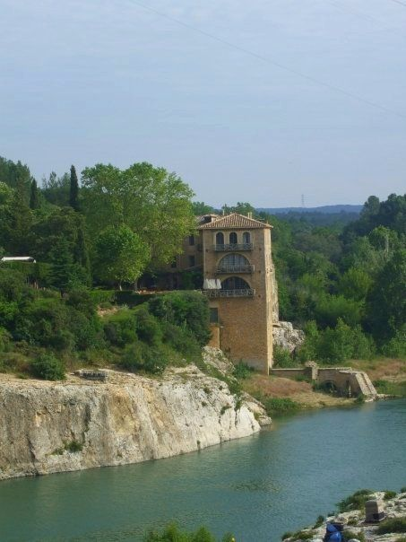 The Gard river where you will see the famous ancient bridge - le pont du Gard - France