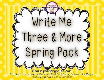 Write Me Three & More Spring PackThis was a teacher requested pack of Write Me Three activities... so I added even more to it! These sheets allow students to write independently and turn their writing into paragraphs. Each activity has its own word wall and writing prompt(s) sheets.
