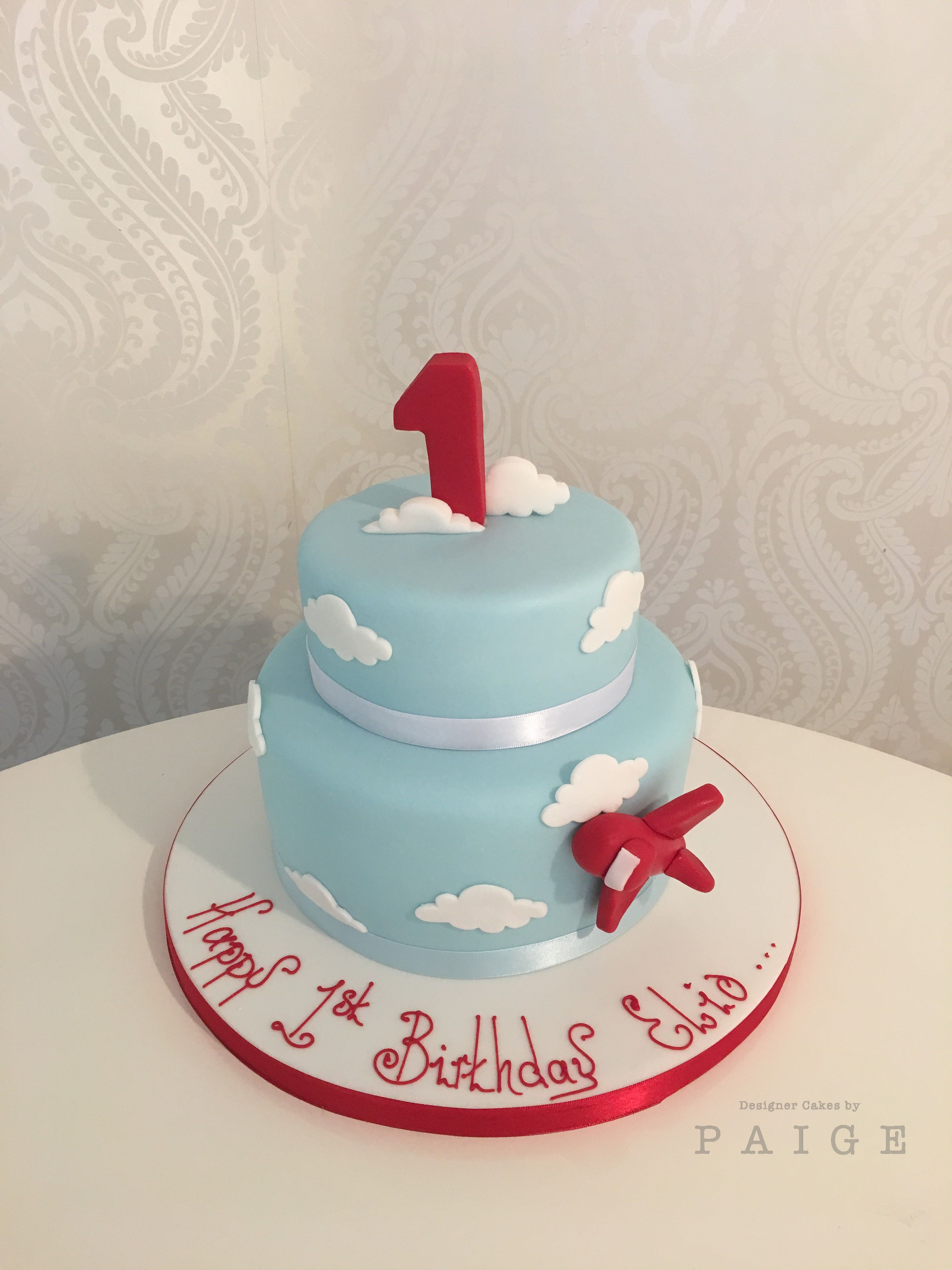 First Birthday Cake In Baby Blue Finished With Fluffy White Clouds