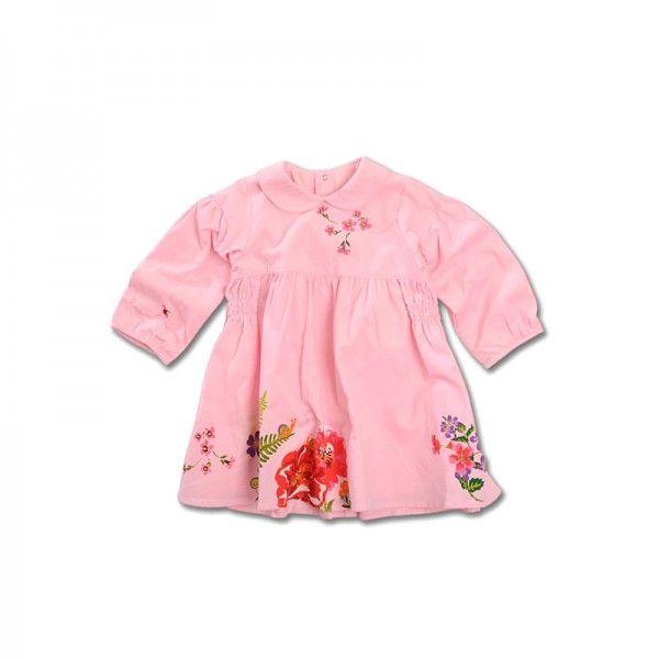 Catimini rosa Langarm Kleid mit zauberhaften Blumen Print #Babymode #Babykleid