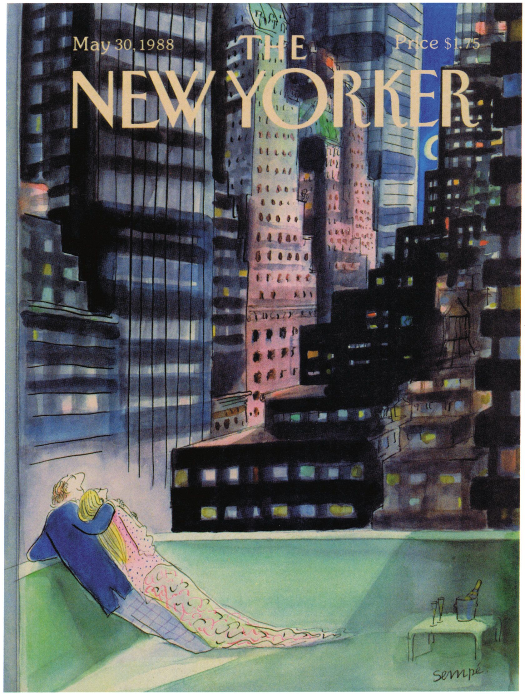 """The New Yorker - Monday, May 30, 1988 - Issue # 3302 - Vol. 64 - N° 15 - Cover by : """"Sempé"""" - Jean-Jacques Sempé"""
