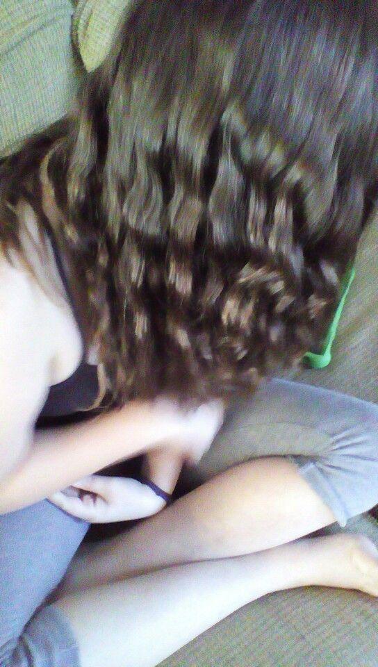 Wavy hair from French braid