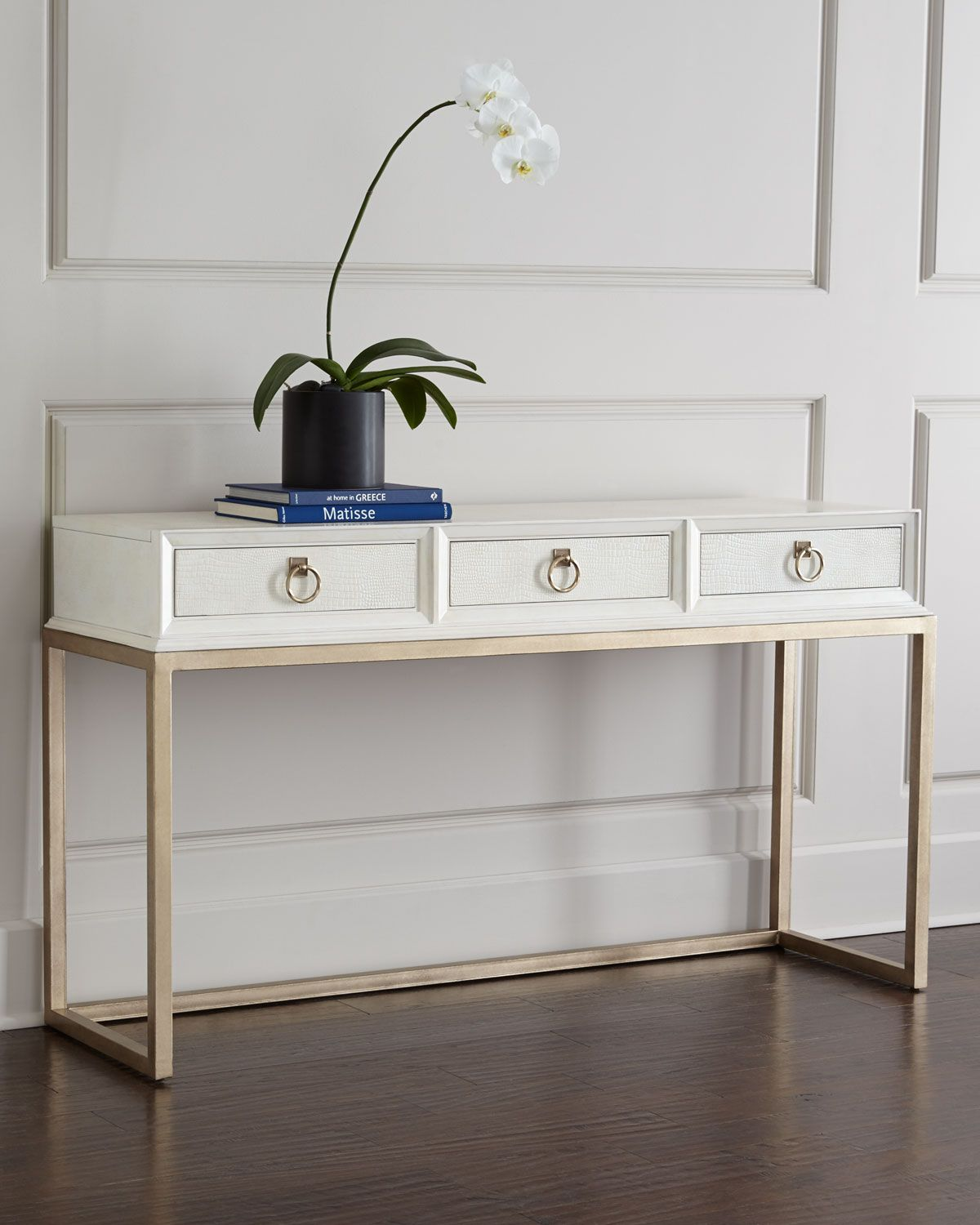 Modern hallway storage gold console table gold metal console table - Tables Daisy Console I Horchow White Faux Croc Console Table White Croc Embossed Leather Console White Console With Gold Base Modern White And Gold