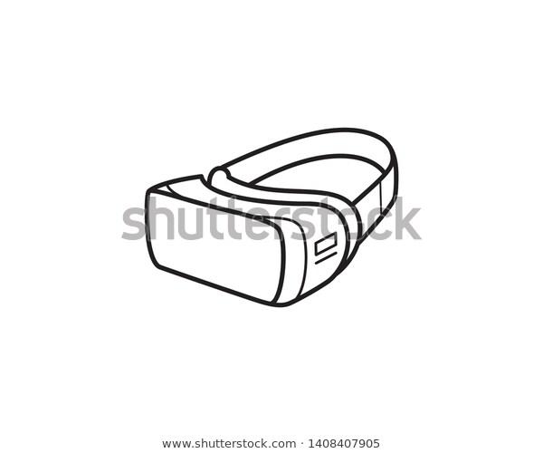 Vr Headset Googles Virtual Reality Line Stock Vector Royalty Free 1408407905 Vr Headset Virtual Reality Vr Logo