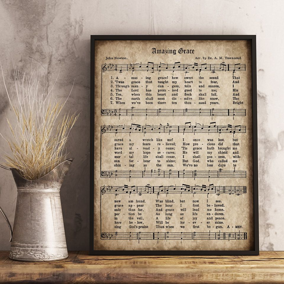 Amazing Grace: Amazing Grace Print, Printable Vintage Sheet Music