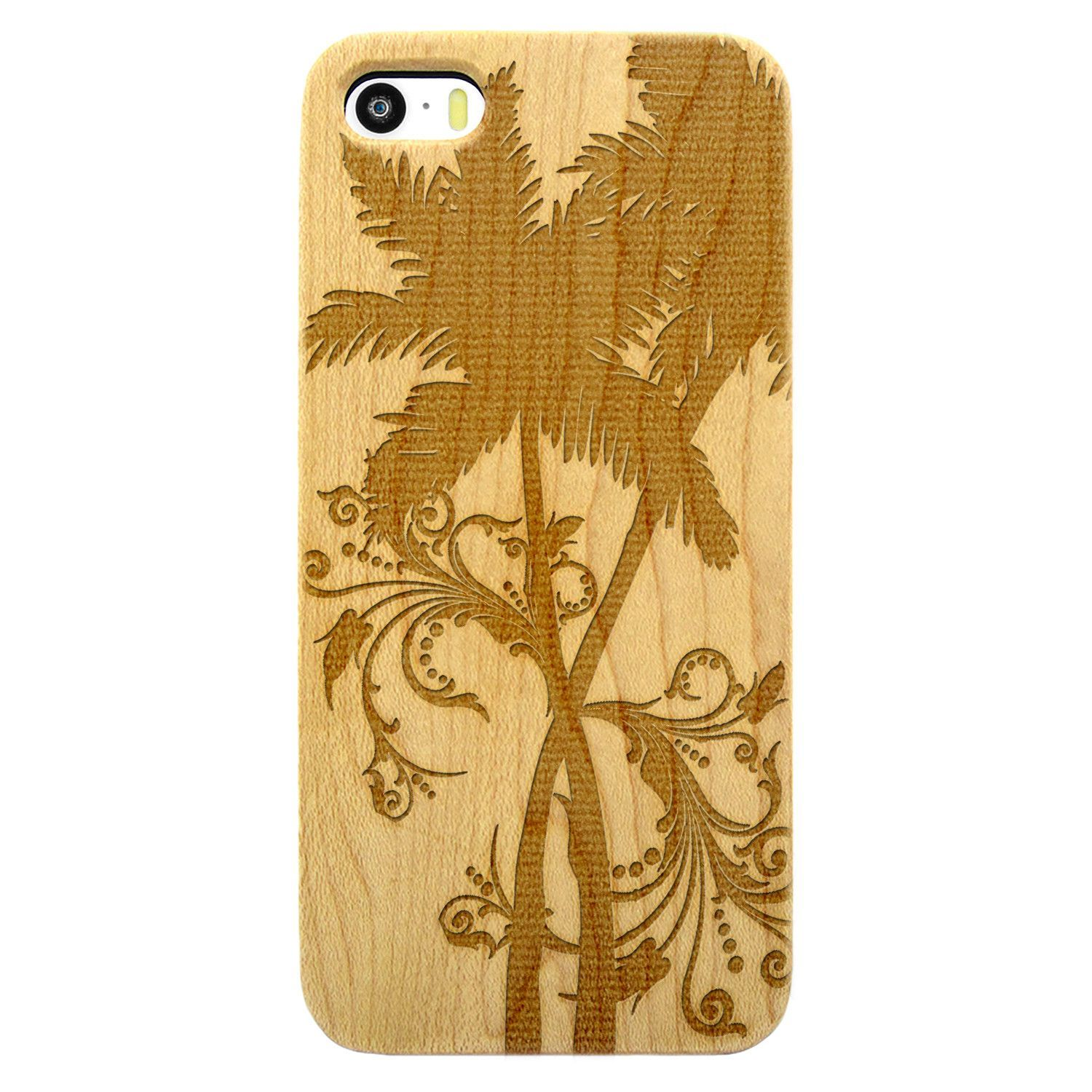 California Palm Tree Floral- Laser Engraved Wood Phone Case (Maple,Cherry,Black,Cork)