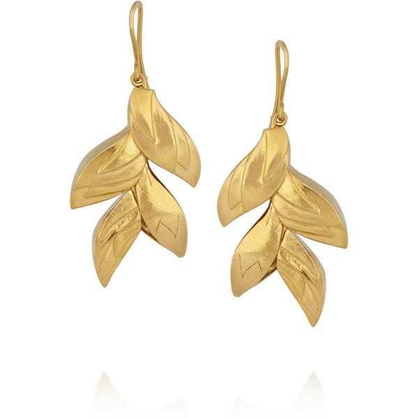 Virzi+De Luca Tropical Flower gold-plated earrings found on Polyvore