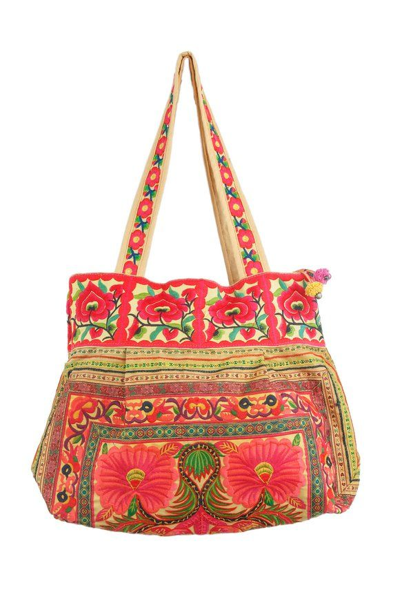 Orange Flowers Boho Tote Bag Hmong Embroidered Large Size Thailand Fair  Trade (BG302ORGHFS) 79fb62f02d764