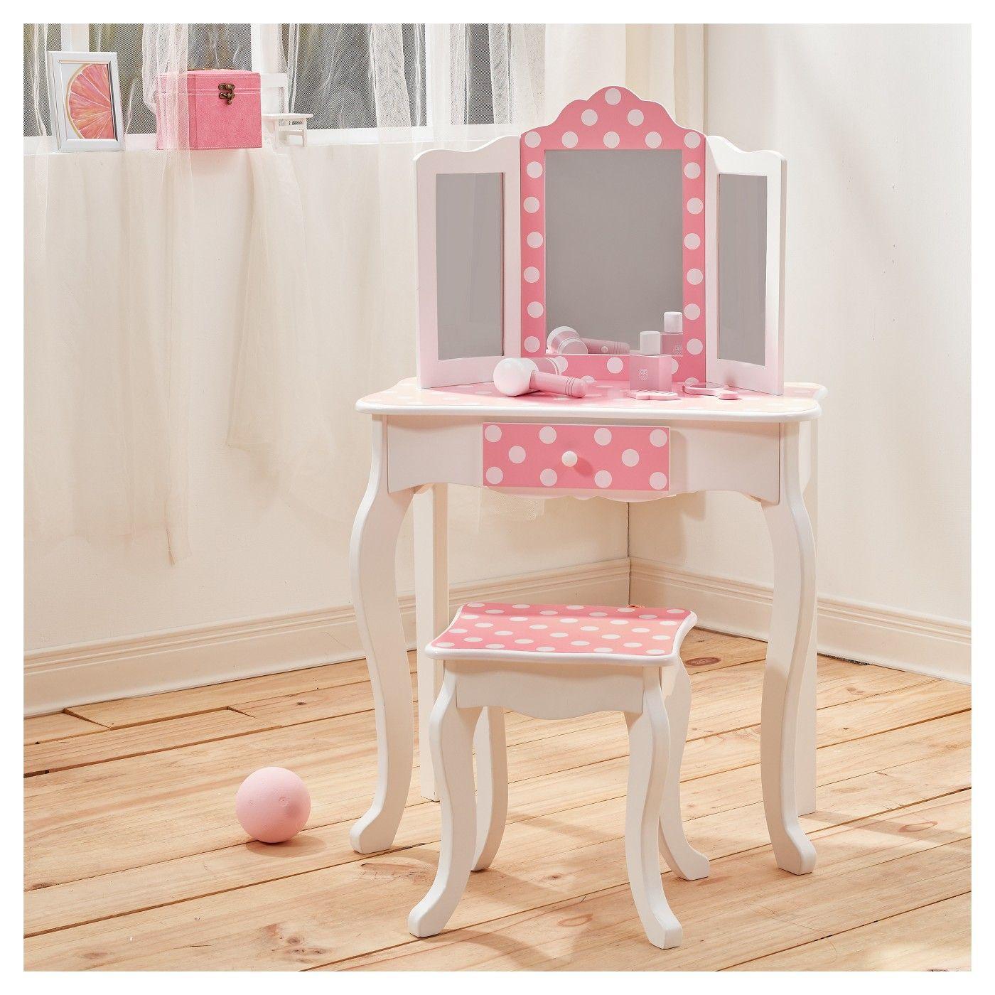 Fashion Prints Polka Dot Vanity Table Stool Set Teamson Kids