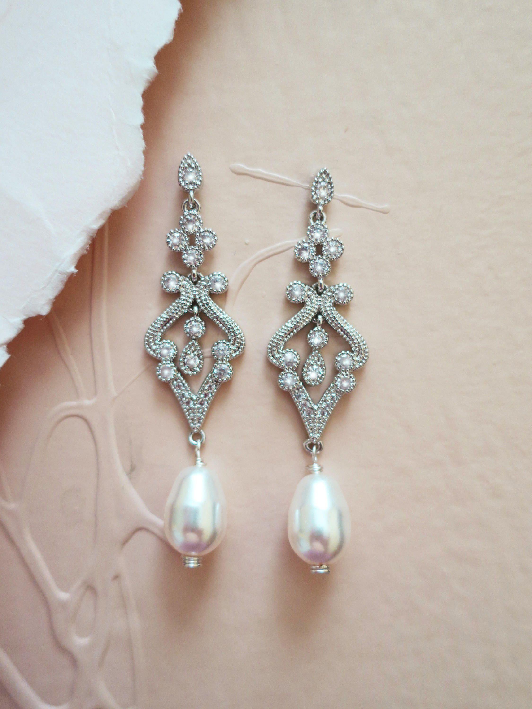 Vintage Style Bridal Earrings Wedding Drop Chandelier For Bride Swarovski Teardrop Pearl Aaa Antique Cubic Zirconia Edna Art Deco