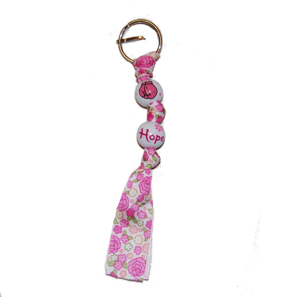 Handpainted Pink Fight Like A Girl Boxing Cancer Ribbon Awareness Keychain