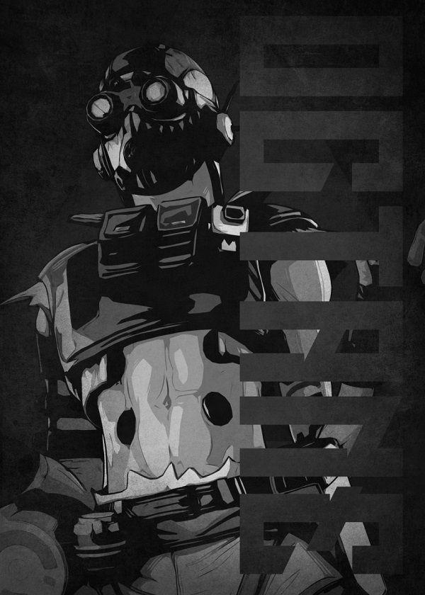 "Apex Legends Black & White Characters Octane #Displate explore Pinterest""> #Displate artwork by artist…   Displate thumbnail"