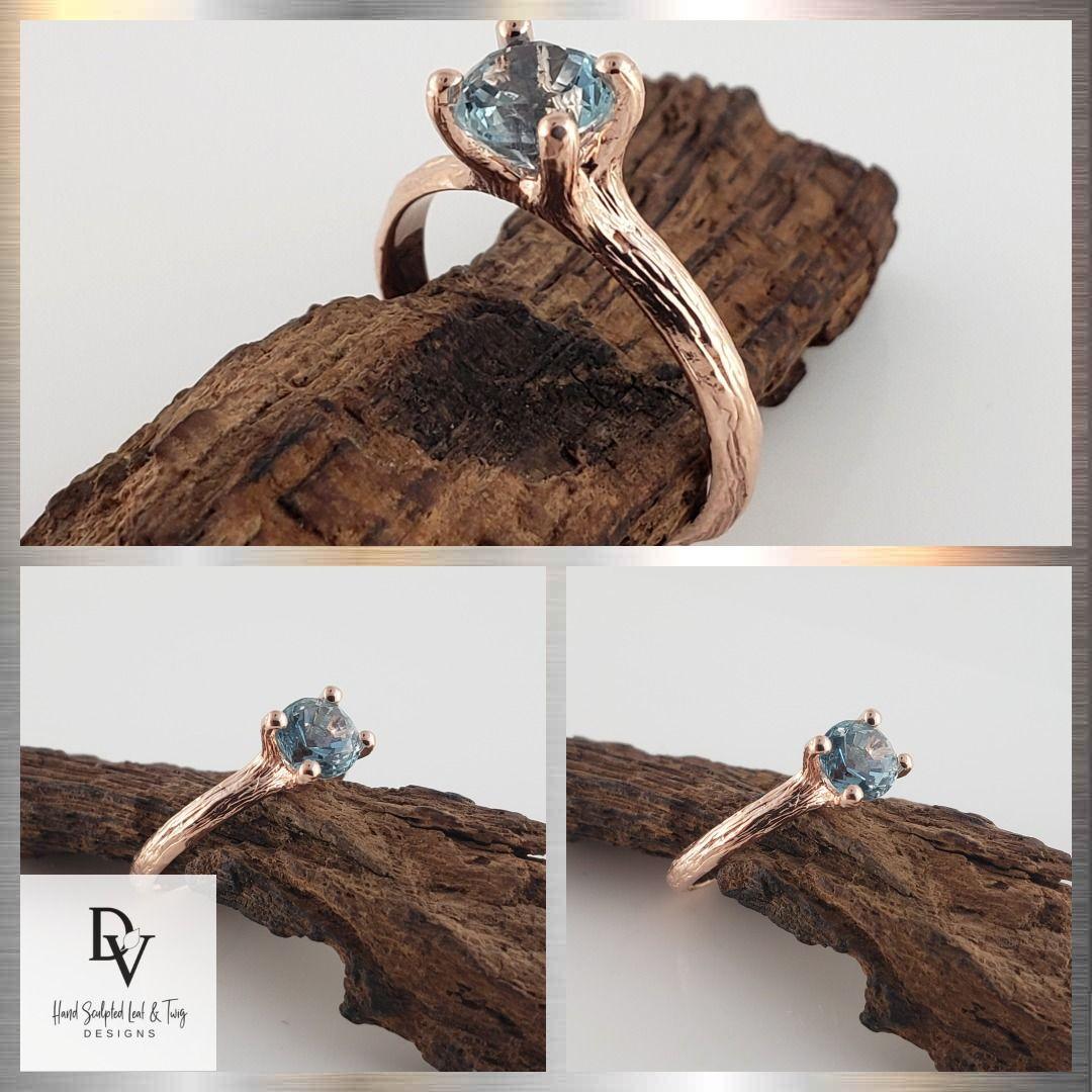 1 Karat Blue Sapphire Twig Verlobungsring aus 14 Karat Roségold, Solitaire Ring #Engagem …