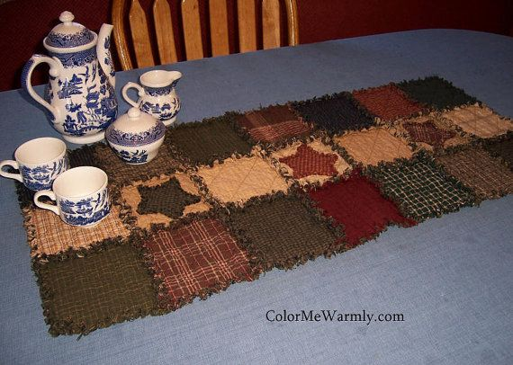 Gentil Rag Quilt Table Runner, Colonial Primitive Colors, Homespun, Country,  Raggedy, Stars