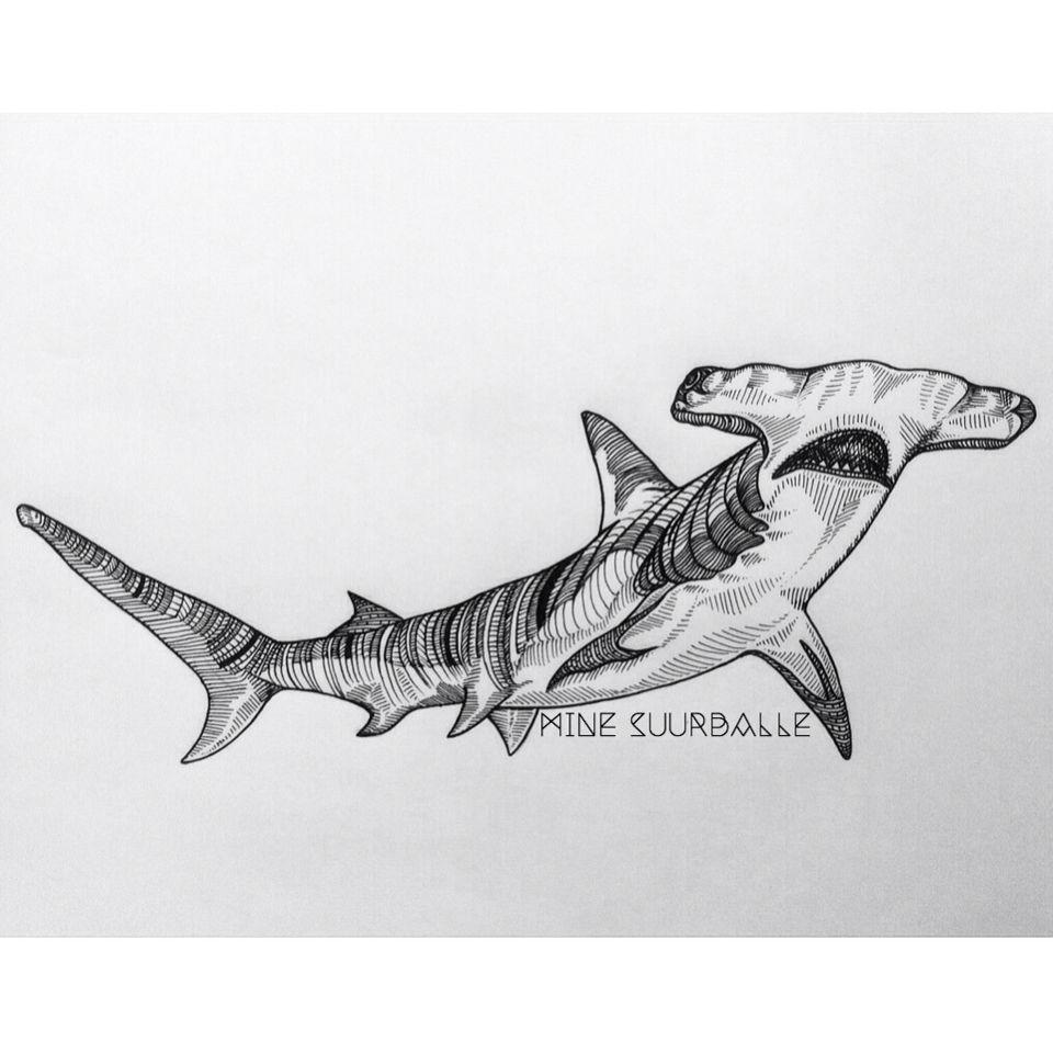 Hammerhead Shark | final tattoo design | Pinterest | Tiburones ...