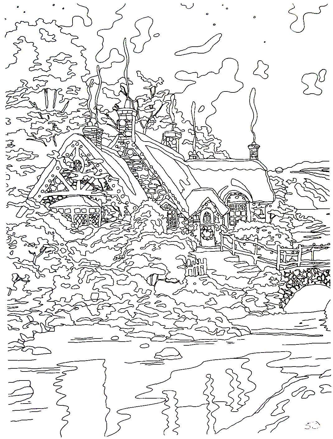 Christmas Moonlight Thomas Kinkade Painting Coloring Book