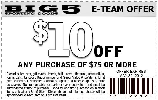 10 off purchase at Big 5 Sporting Goods! coupon Fun