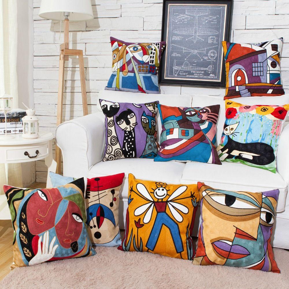 Modern Fashion Embroidered Home Decorative Cotton Cartoon