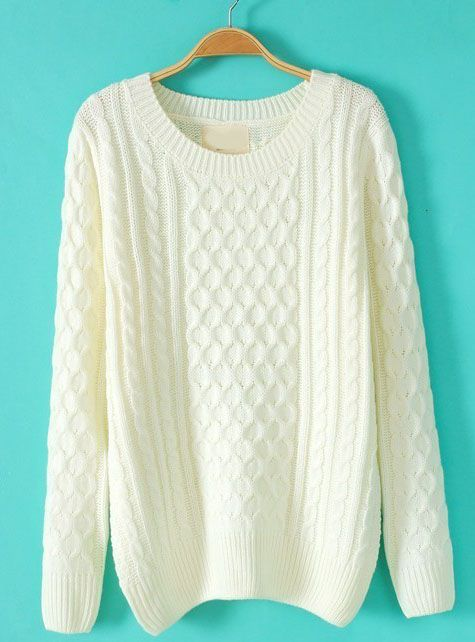 White Batwing Long Sleeve Cable Knit Sweater Cable Knit Sweaters
