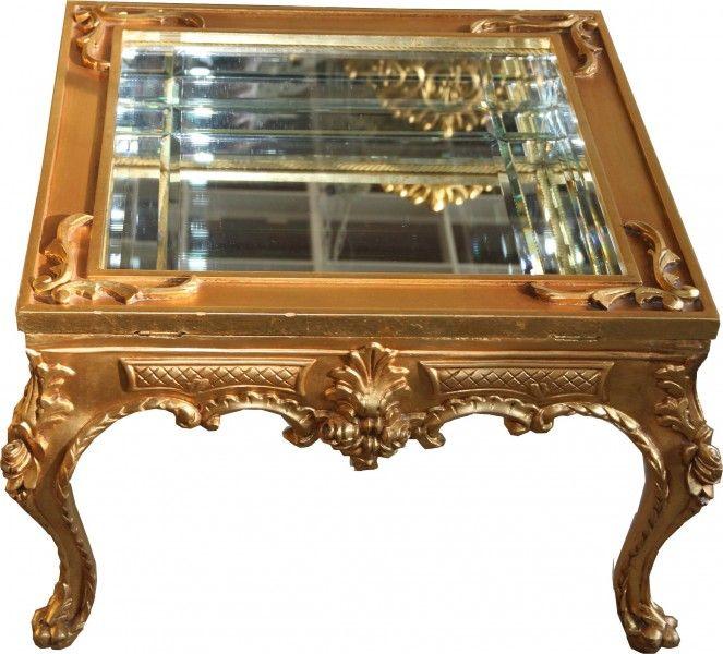 Prunkvoller Casa Padrino Barock Couchtisch Gold Verspiegelt Mit  Aufklappbaren Glasdeckel 67 X 67 Cm Unikat