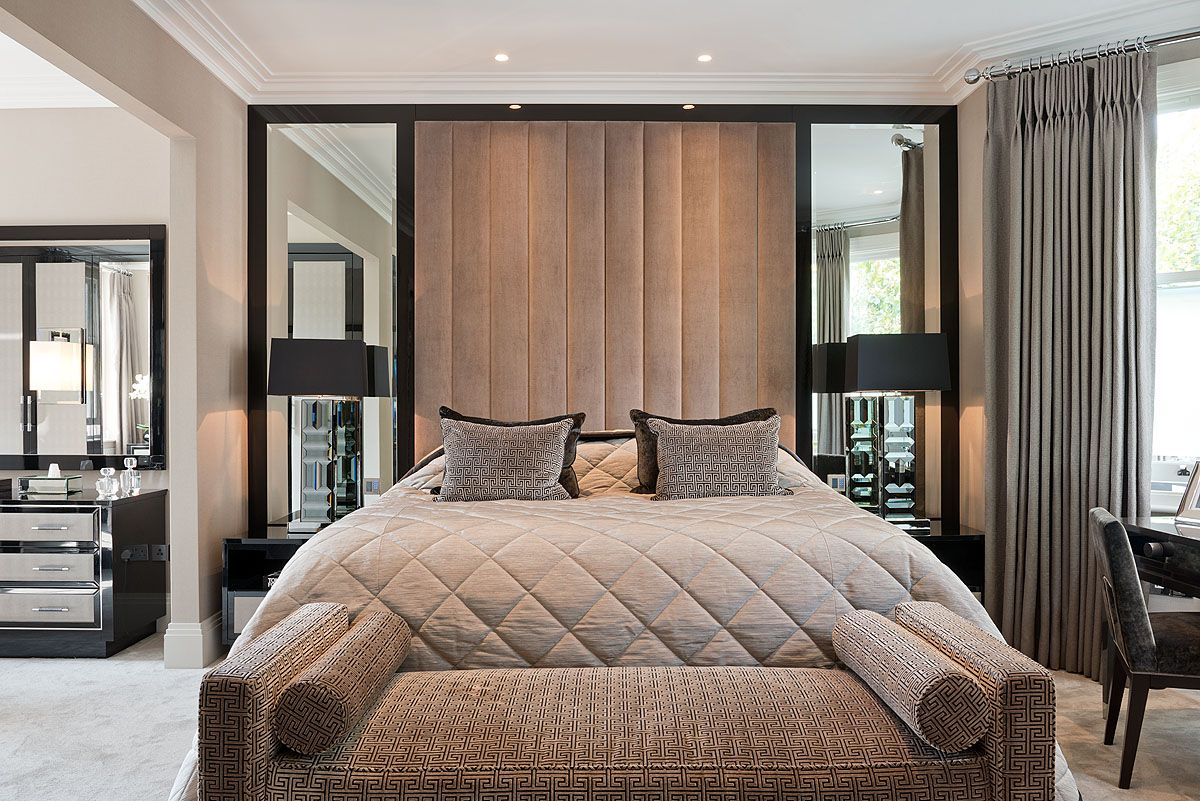 Bedroom Ceiling Height Sumptuous Master Bedroom Featuring A Plush Faux Suede