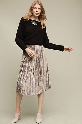 Pleated Velvet Midi Skirt c364f8158fe
