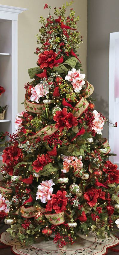 Christmas Tree ○ Red Birds Flowers love the blend of holly and the burlap  giving it that rustic elegance! - Christmas 101: Tree Themes Happening Christmas, Christmas