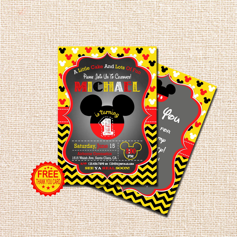 Mickey Mouse Invitation, 1st Birthday Invitation, Mickey