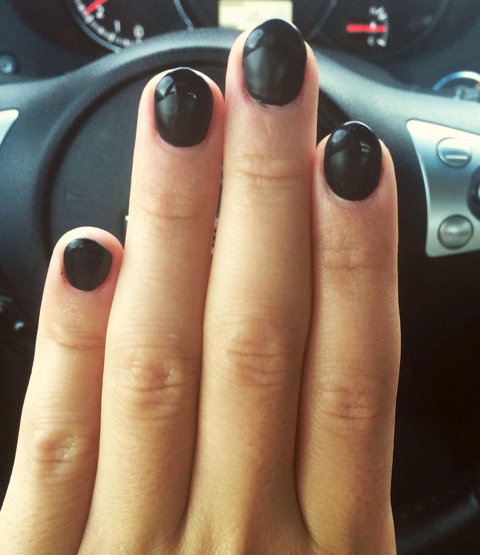 short almond nail with matte black french | Nailed it | Pinterest