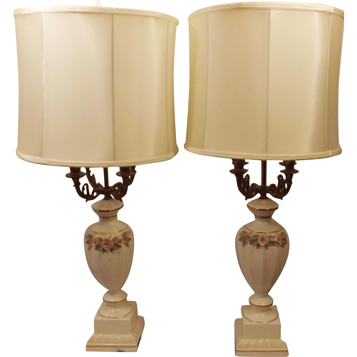Vintage French Porcelain Candelabra Lamps W Original Shades Lamp Vintage Table Lamp French Vintage