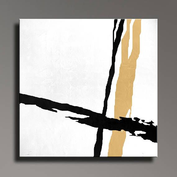 Abstract Painting Black White Gold Canvas Art Large Hand Painted