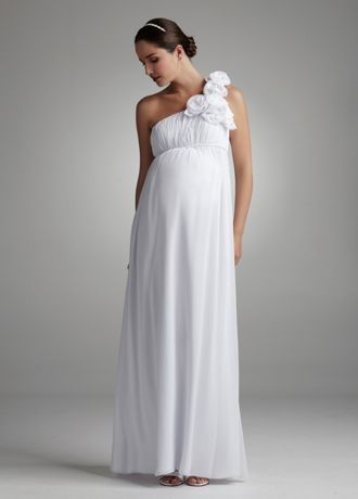 Be comfortable without sacrificing style in this modern and chic chiffon maternity gown.   One shoulder bodice features large rosette detail for added glamour.  Empire waist creates a flattering A-line silhouette.  Full length chiffon skirt is elegant and flowing.  Fully lined. Padded cups. Invisible back zipper. Imported polyester. Dry clean only.  Available in white or ivory.  To preserve your wedding dreams, try our Wedding Gown Preservation Kit.