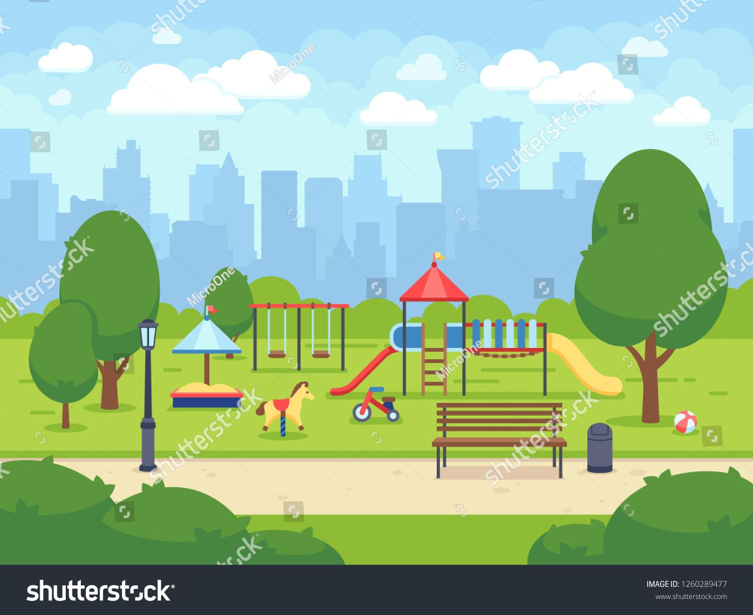 Urban Summer Public Garden With Kids Playground Cartoon City Park With Cityscape Sponsored Ad Garden Ki Gardening For Kids Public Garden Kids Playground