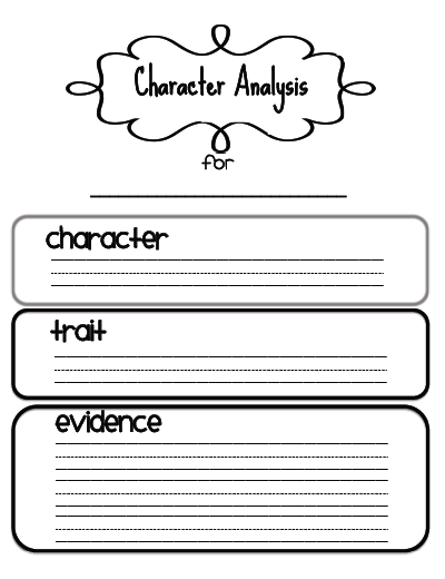 Character Analysis  Character Traits    Literacy