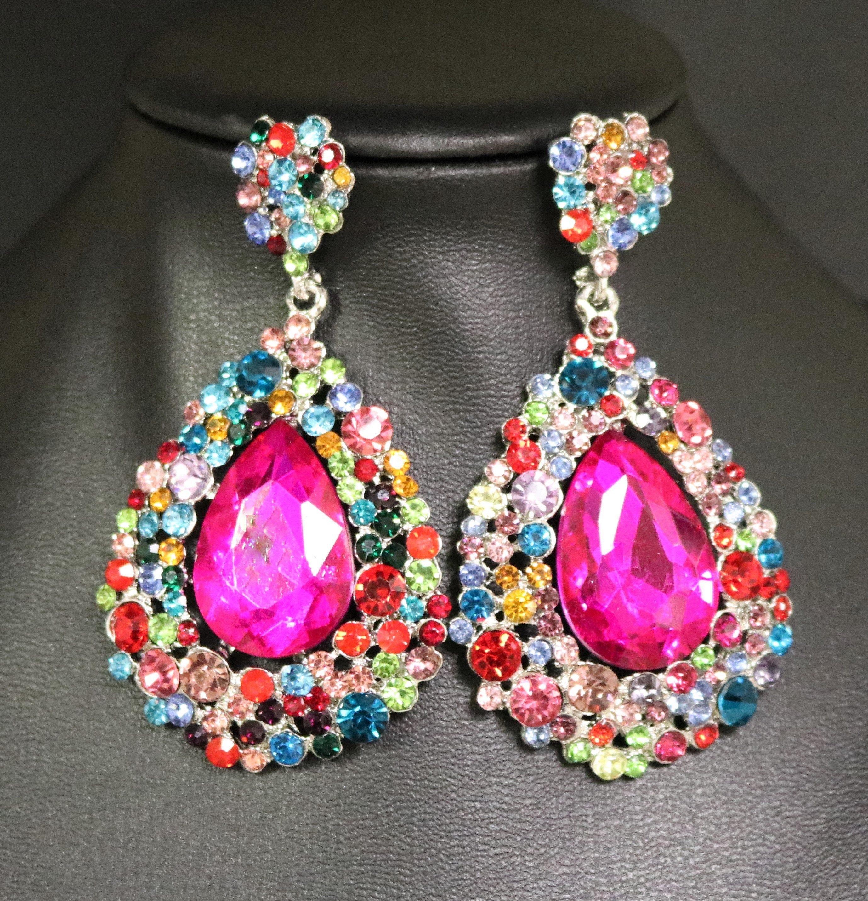 Pink Pageant Earrings Pink  Rhinestone Earrings Light Pink AB Round Chandelier Earrings Light Pink Prom Earrings Long Pink Earrings
