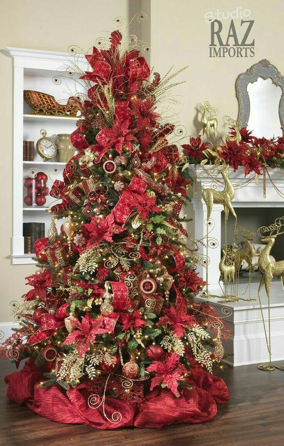 Arboles De Navidad Color Rojo Arboles De Navidad Rojo Y Dorado Arbol De Navidad Blan Red Christmas Decor Gold Christmas Decorations Christmas Tree Decorations
