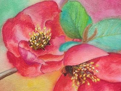 Watercolor spring flowers by Marcela Neamtu