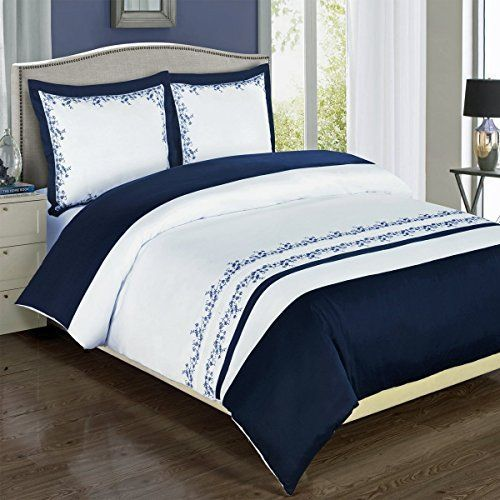 Navy And White Amalia 3 Piece Full Queen Comforter Cover Duvet Cover Set 100 Egyptian Cotton 300 Tc Royal Hotel Http Www Amazo Design Decoracao Quartos White comforter with navy trim