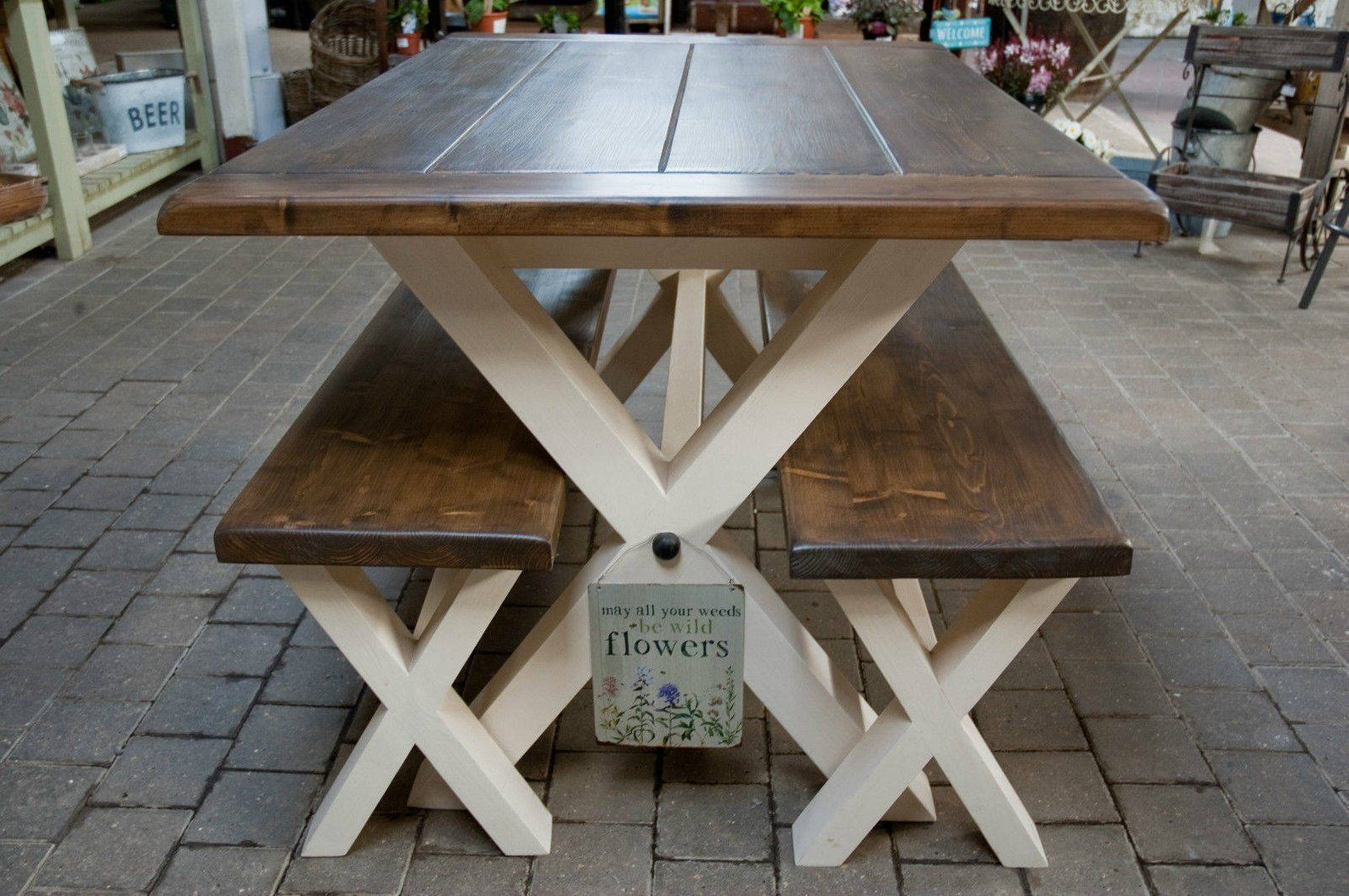 Solid Thick Wood Farmhouse Table And Or Benches Cross X Legs Etsy Farmhouse Table Dining Table Dining Table With Bench